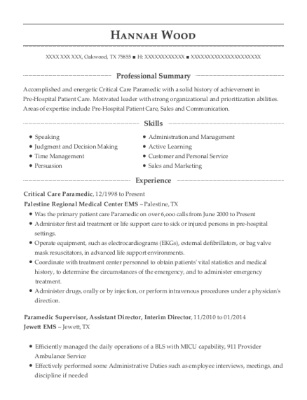 Critical Care Paramedic resume template Texas
