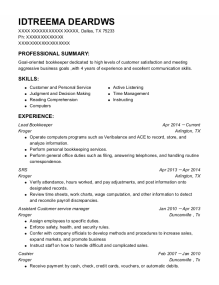 Assistant Customer Service Manager resume sample Texas