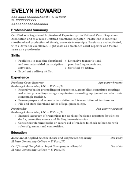 Freelance Court Reporter resume template Texas