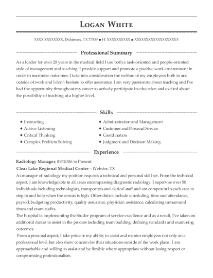 Radiology Manager resume sample Texas