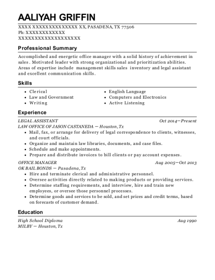 Legal Assistant resume template Texas