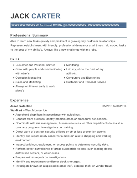 Asset protection resume format Texas