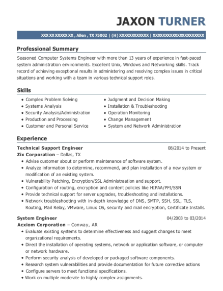 Technical Support Engineer resume example Texas