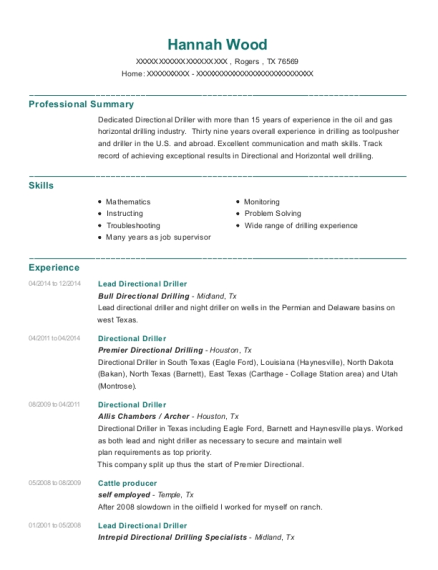 Lead Directional Driller resume format Texas
