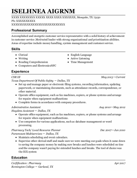 Adminstrative Assistant resume sample Texas