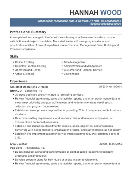 Assistant Operations Director resume format Texas