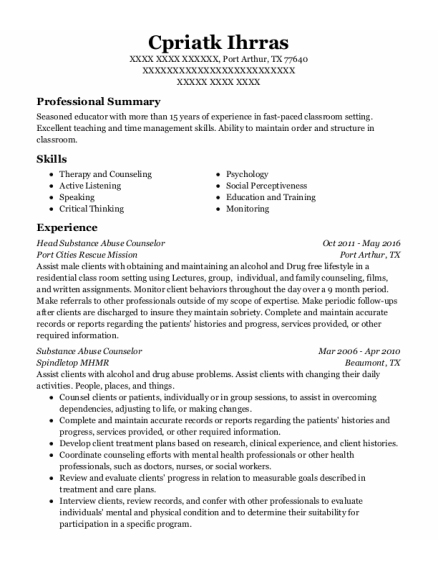 Substance Abuse Counselor resume example Texas