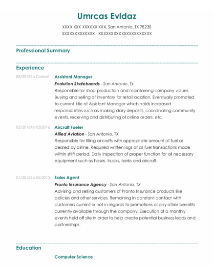 Assistant Manager resume sample Texas