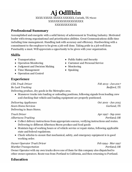 Cdl Truck Driver resume template Texas