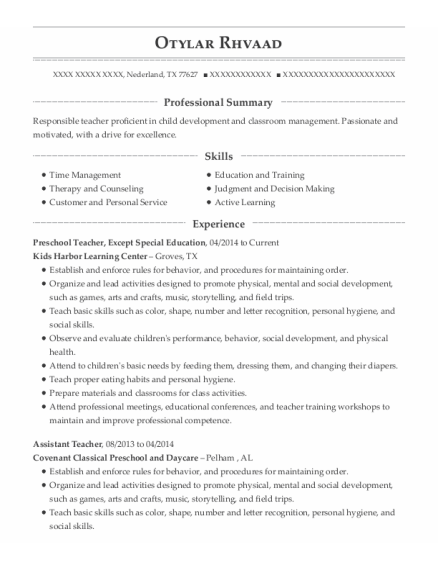 Preschool Teacher resume example Texas