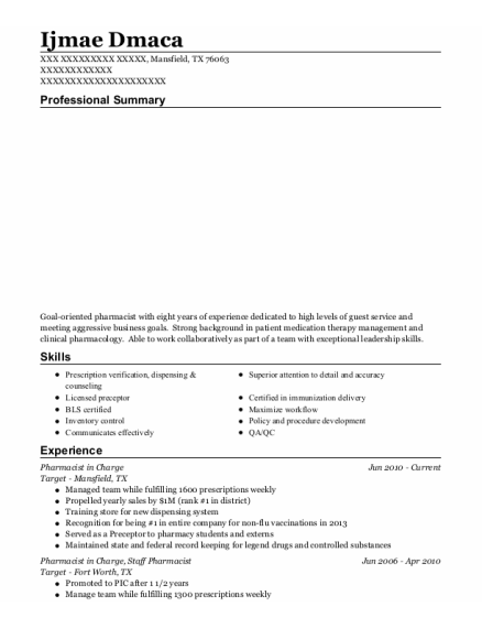Pharmacist in Charge resume example Texas