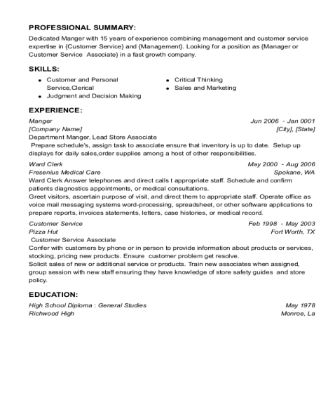 Manger resume template Texas