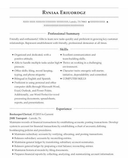 Bookeeper resume template Texas