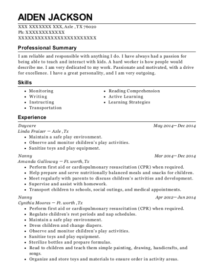 Daycare resume sample Texas