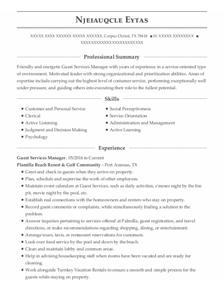 Guest Services Manager resume template Texas