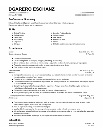 Janitor resume format Texas