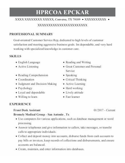 Front Desk Assistant resume sample Texas