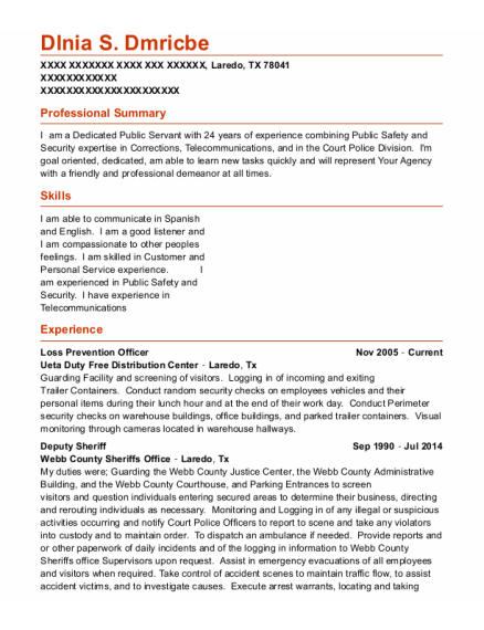 Loss Prevention Officer resume example Texas