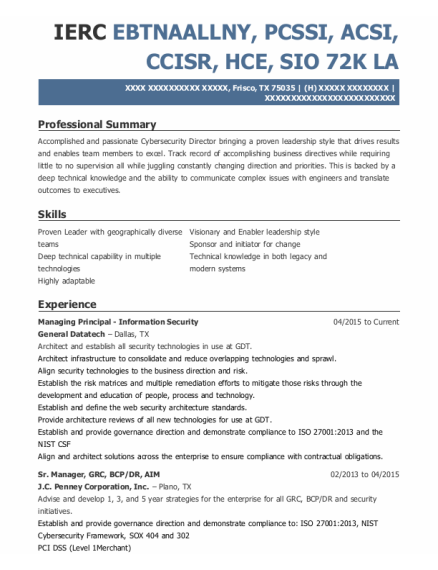 Sr Manager New Partner Development resume example Texas