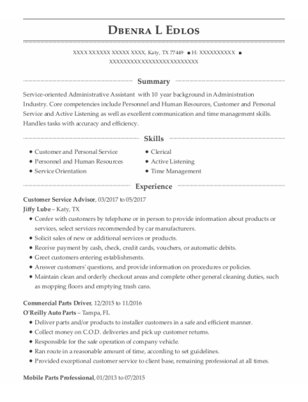 Customer Service Advisor resume format Texas