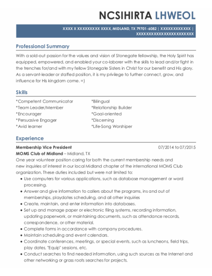 Houseparent resume example Texas