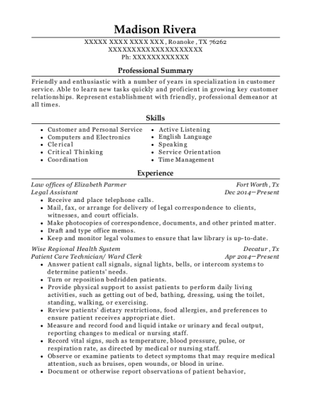 Legal Assistant resume format Texas