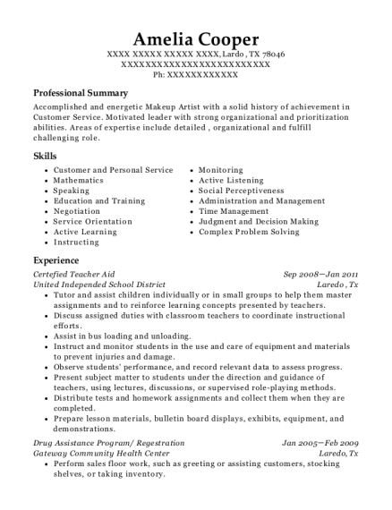 Certefied Teacher Aid resume format Texas