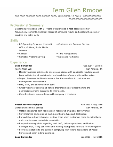Lead Bartender resume sample Texas