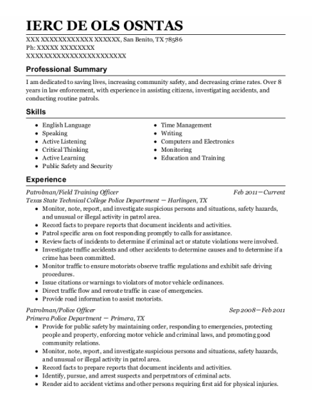 Patrolman resume sample Texas