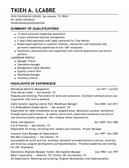 Cable Installer resume example Texas