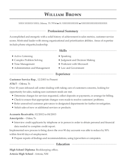 Customer Service Rep resume sample Texas
