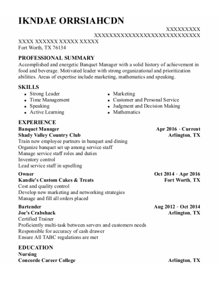 Banquet Manager resume template Texas