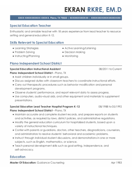 Special Education Instructional Assistant resume example Texas