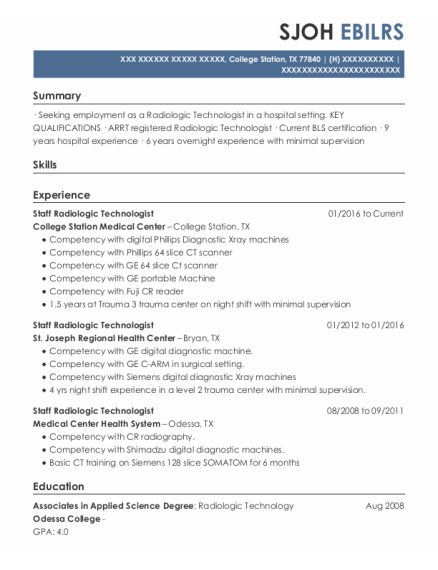 Staff Radiologic Technologist resume sample Texas