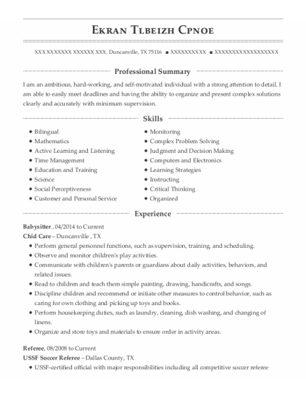 Babysitter resume template Texas