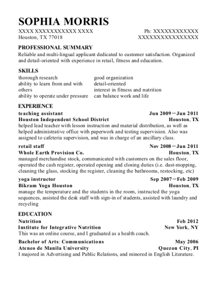 teaching assistant resume template Texas