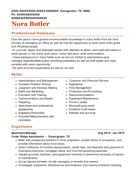 Apartment Manager resume template Texas