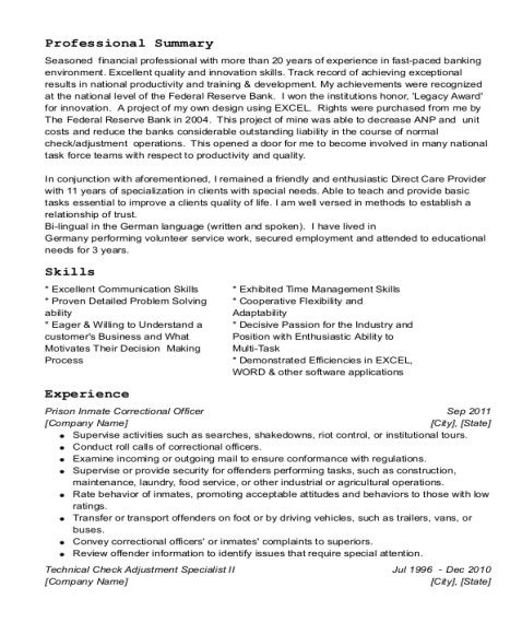 Prison Inmate Correctional Officer resume sample Texas