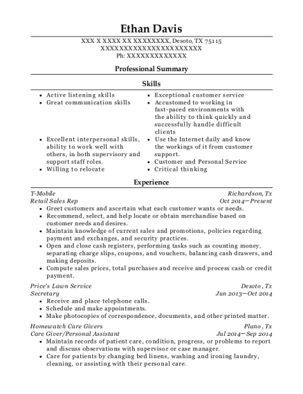 Retail Sales Rep resume sample Texas