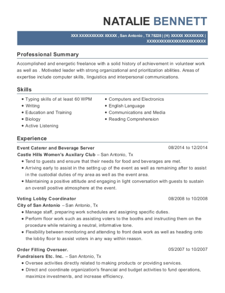 Event Caterer and Beverage Server resume format Texas