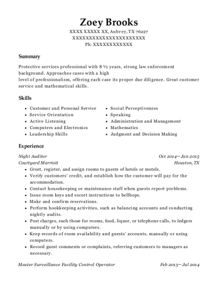 Night Auditor resume format Texas