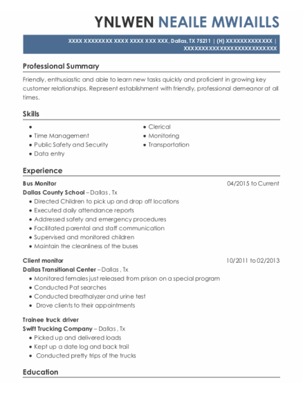 Bus Monitor resume example Texas