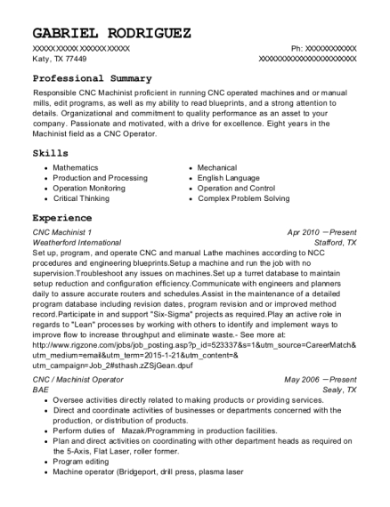CNC Machinist 1 resume example Texas