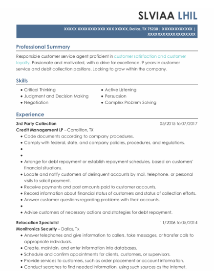 Relocation Specialist resume sample Texas