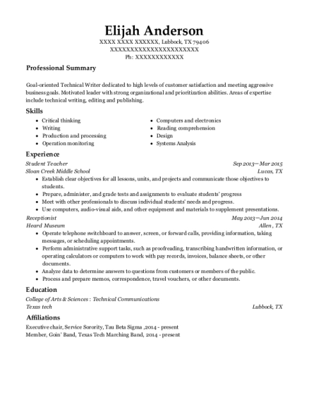 Student Teacher resume template Texas
