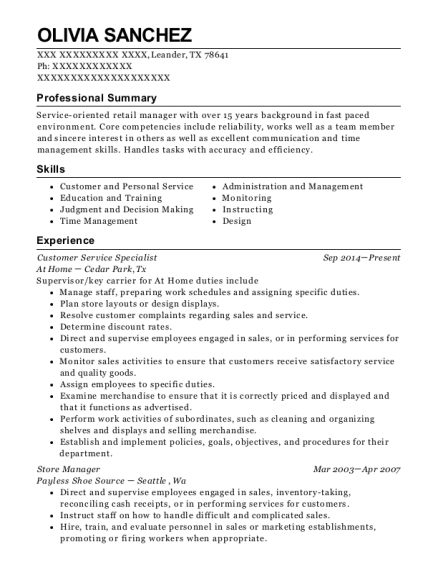 Customer Service Specialist resume example Texas