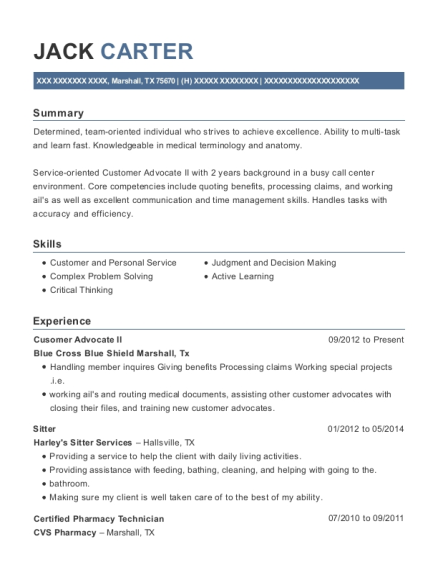 Cusomer Advocate II resume sample Texas
