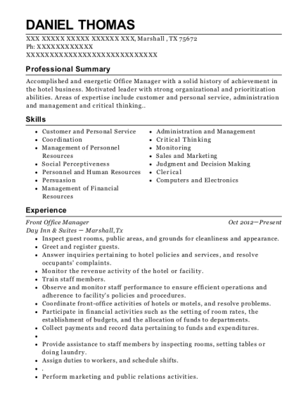Front Office Manager resume example Texas