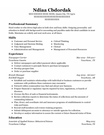 Newspaper Carrier resume format Texas