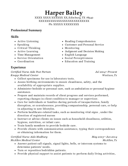 Certified Nurse Aide Post Partum resume sample Texas